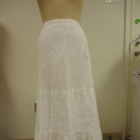 Front View of the White Petticoat with Eyelet Insets and Tucks