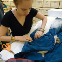 Action view of stabilization sewing on Royal Blue Silk Dress with Tails