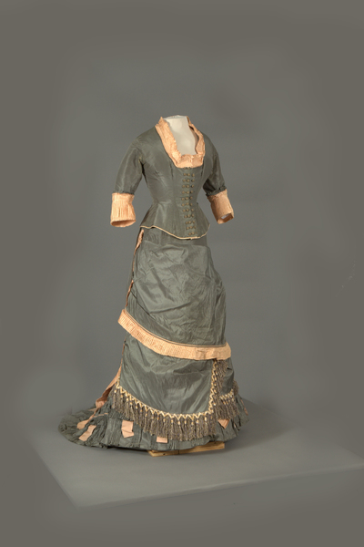 Front View of Pink and Gray Bustle Ensemble