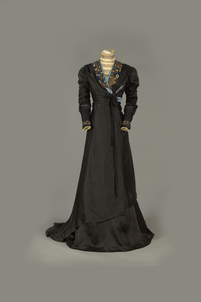 Front View of Black Silk Dress with Train